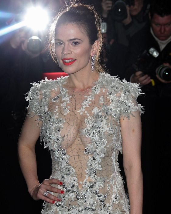 Hayley Atwell transparent dress
