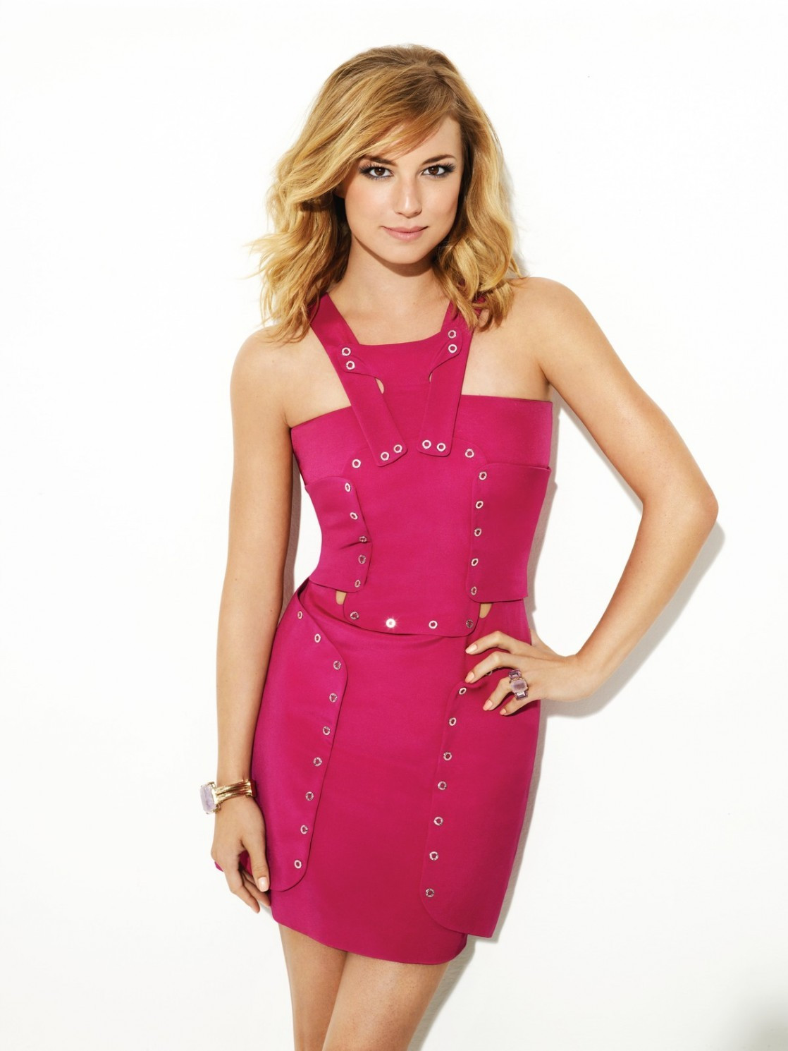 Emily VanCamp Sexy Pink Dress