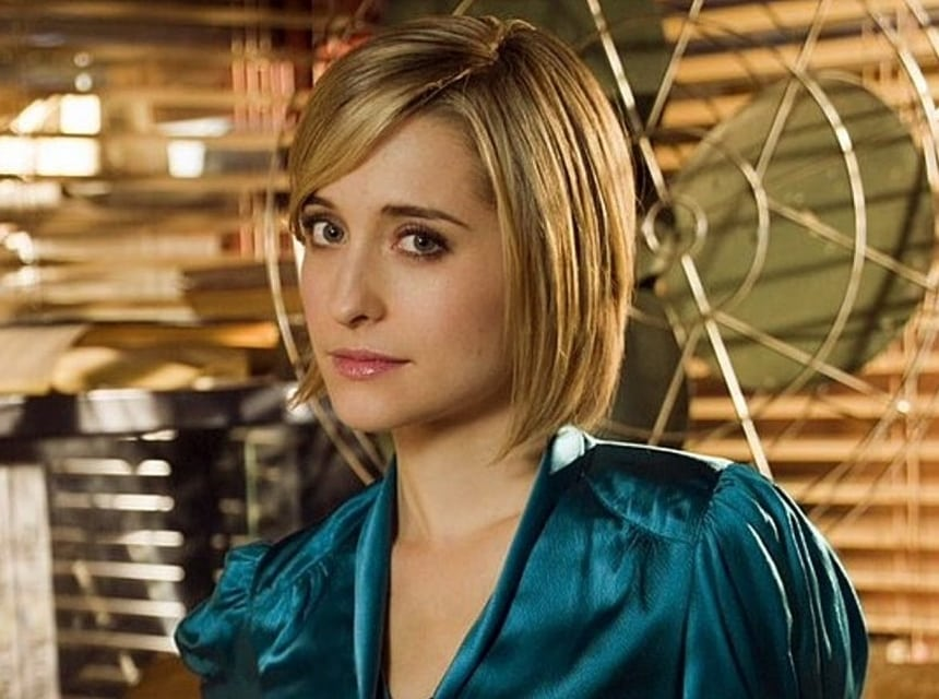 allison mack silk dress
