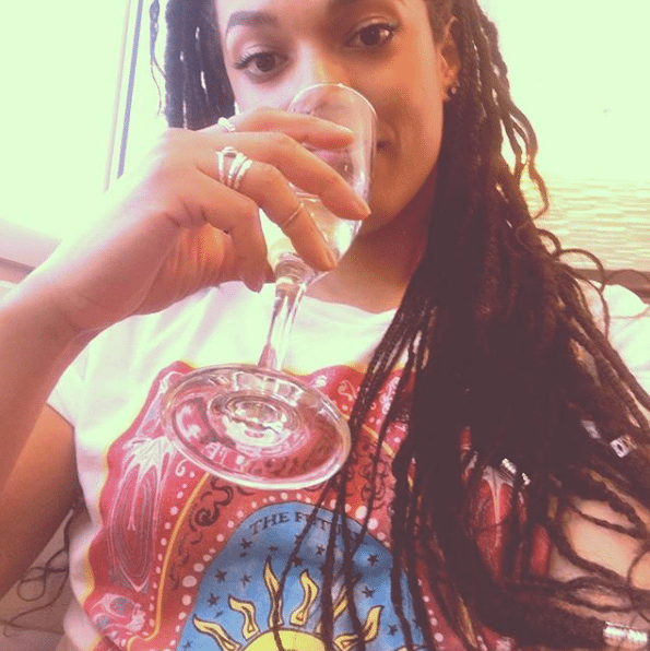 freema agyeman drinking water