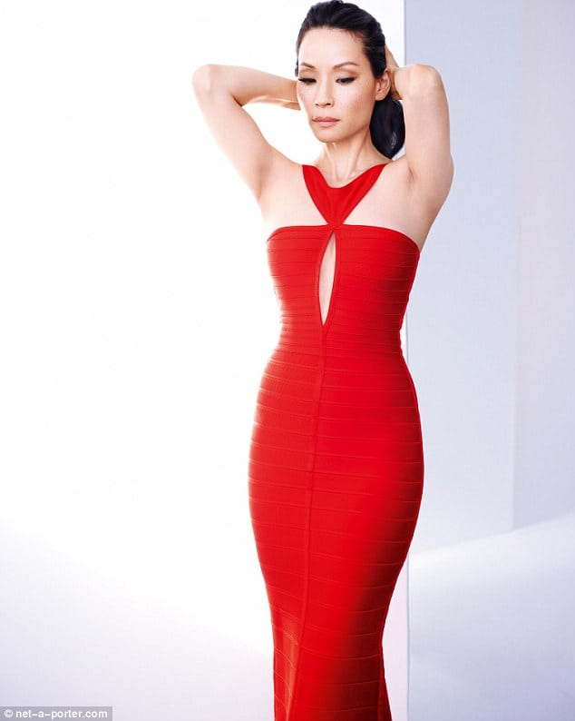 lucy liu red dress