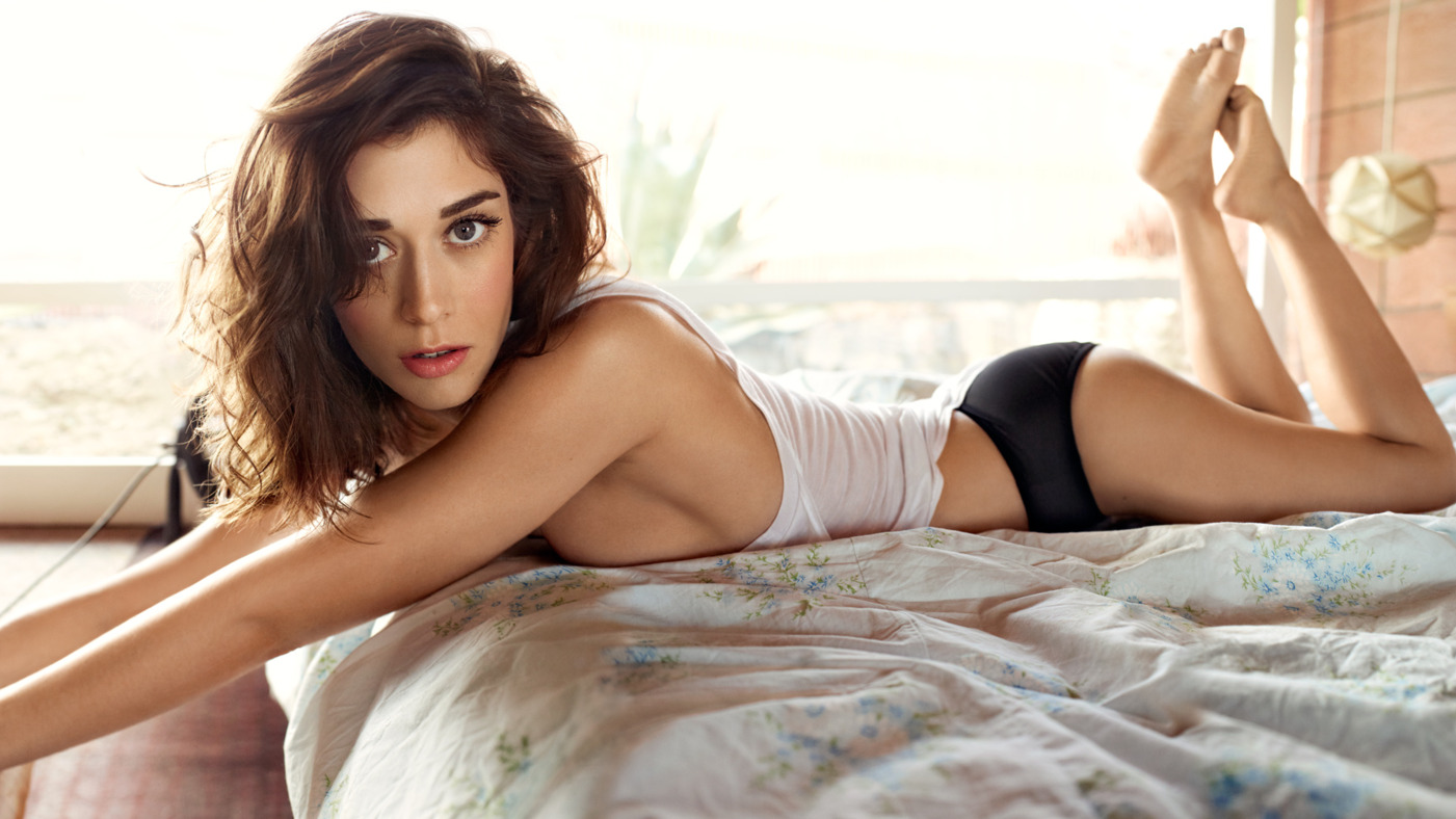 Lizzy Caplan on Bed