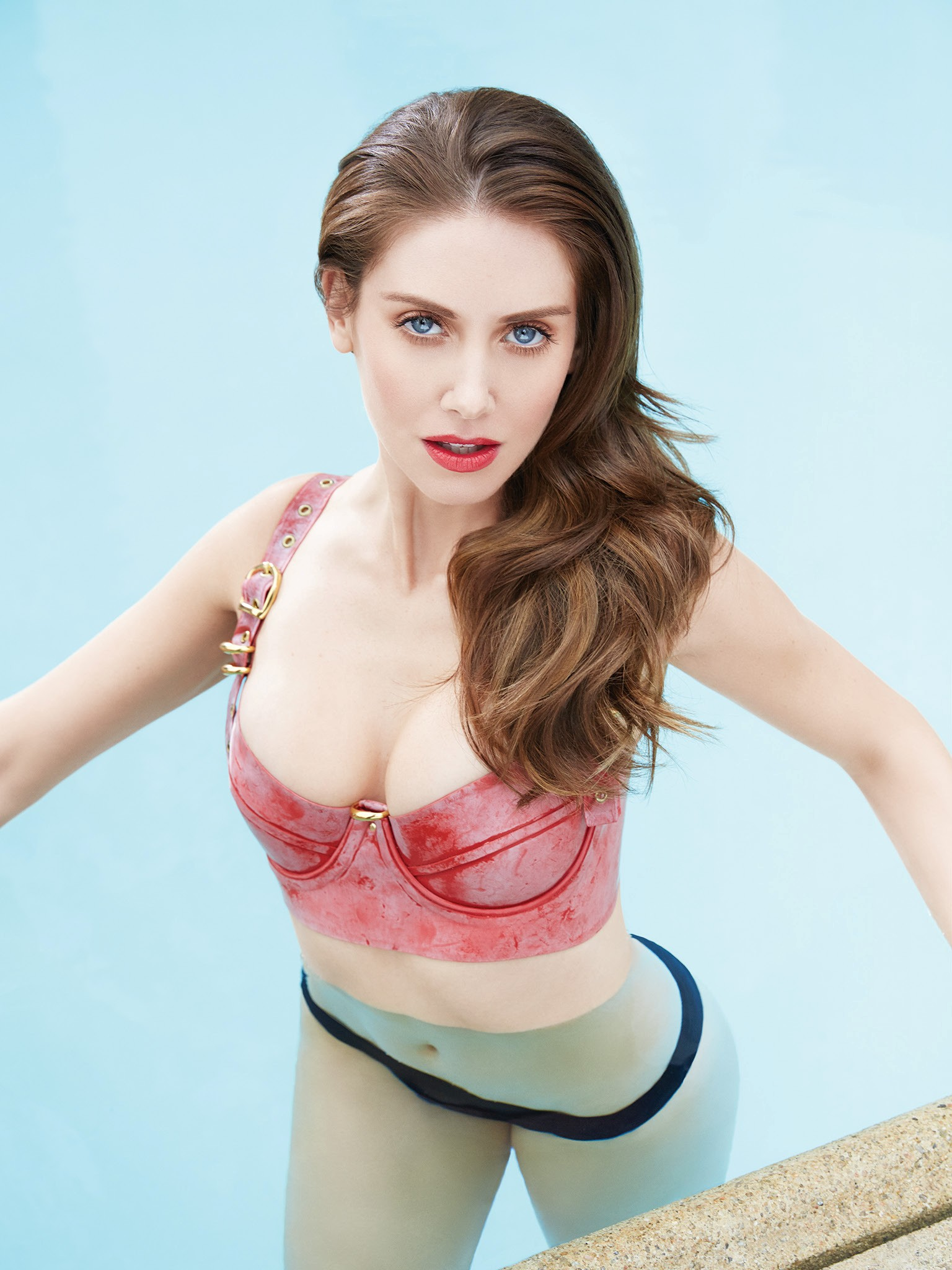 Alison Brie Sexy Red Top
