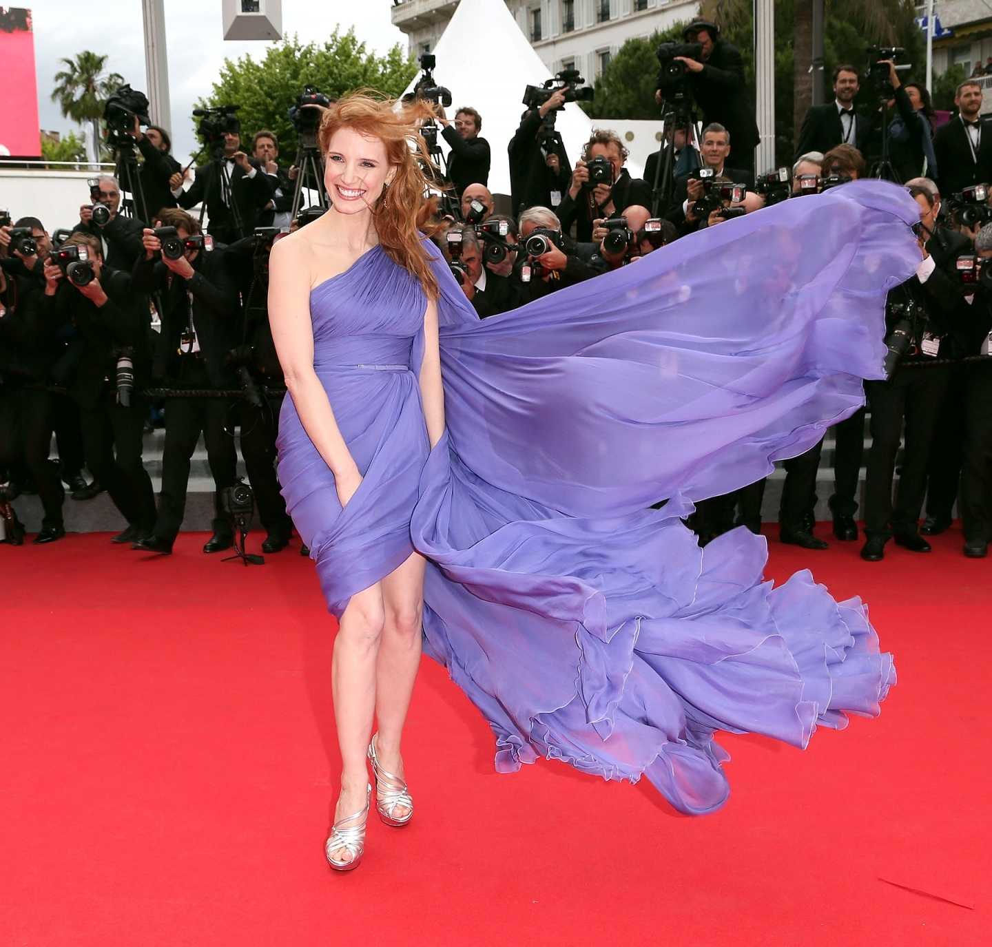 Jessica Chastain Hot Purple Dress