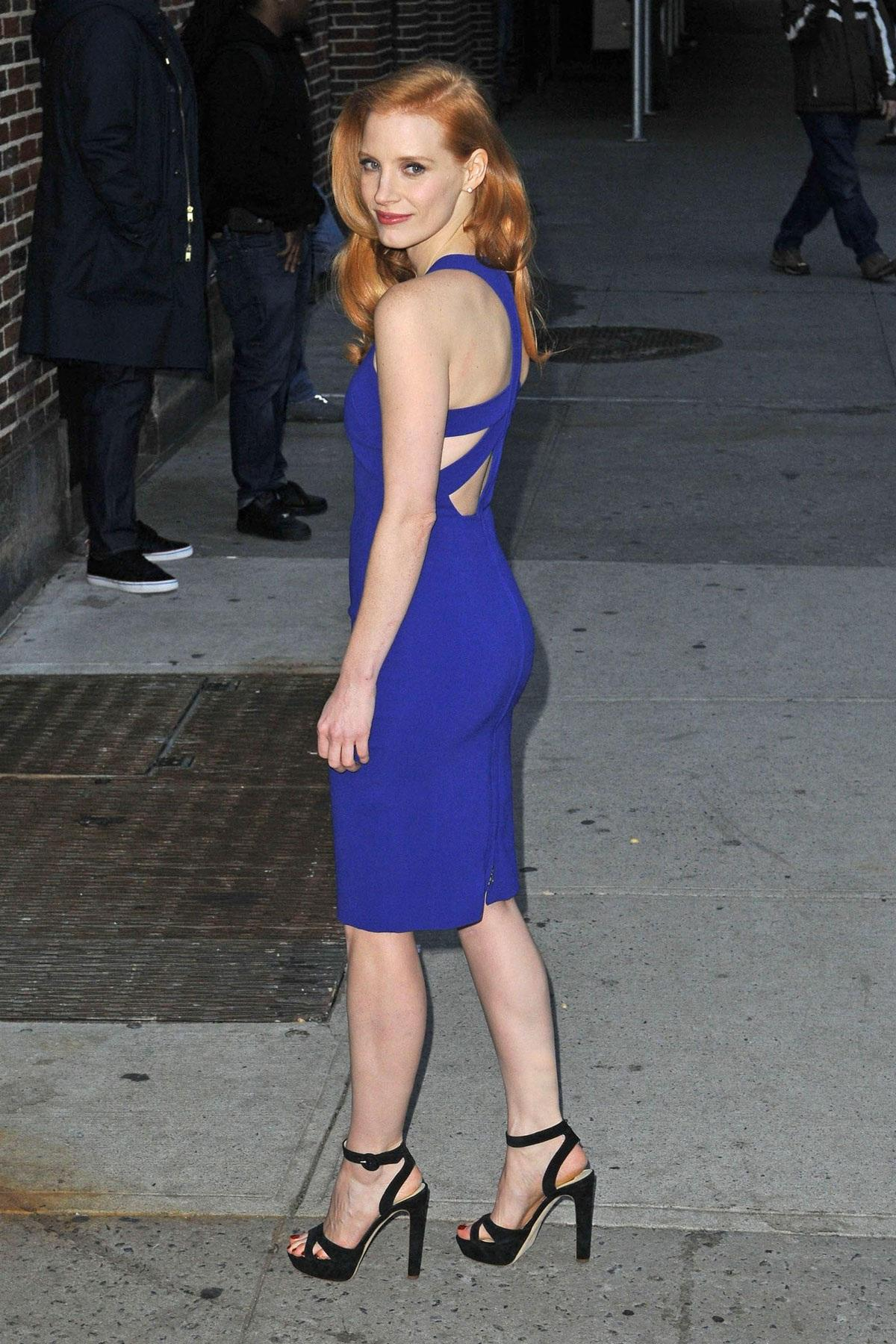 Jessica Chastain Sexy Blue Dress