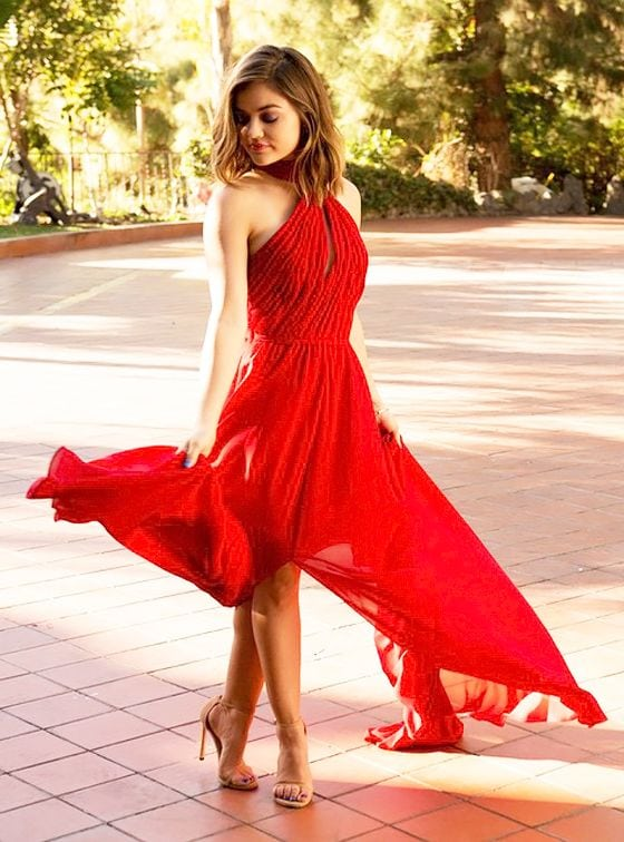 Lucy Hale HOt Red Dress