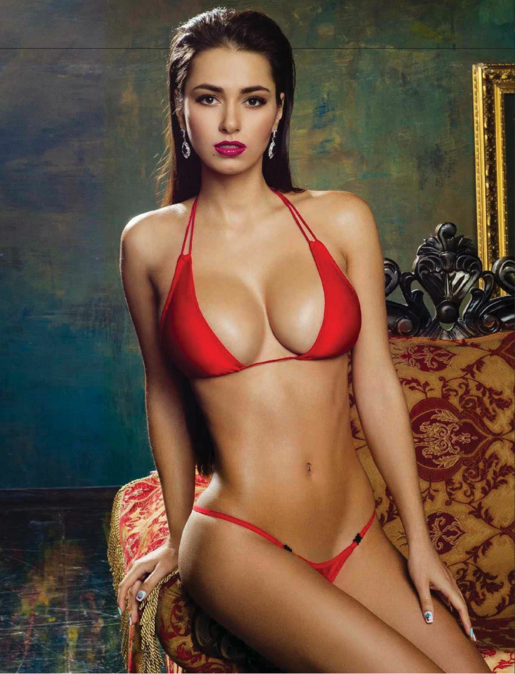 Helga Lovekaty Hot in Red Bikini