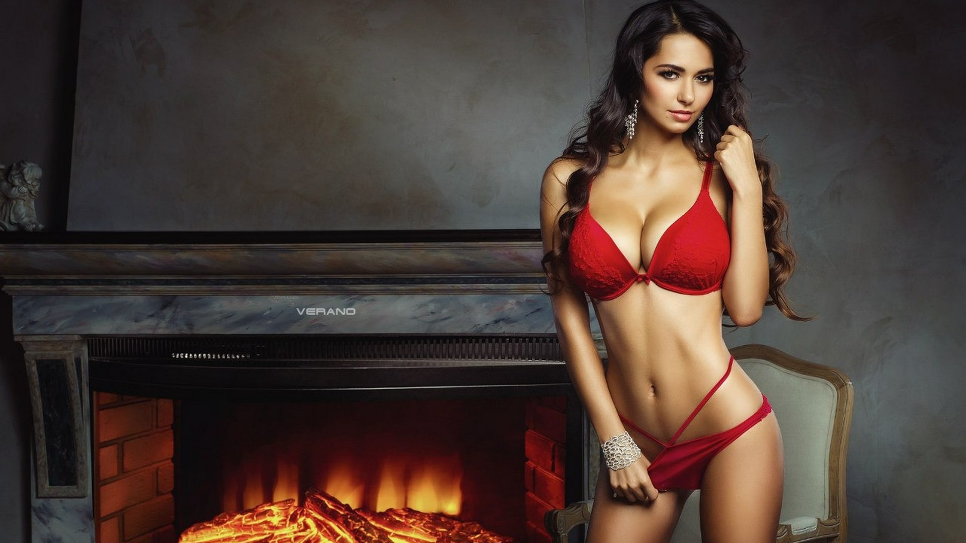Helga Lovekaty in Red Bikini