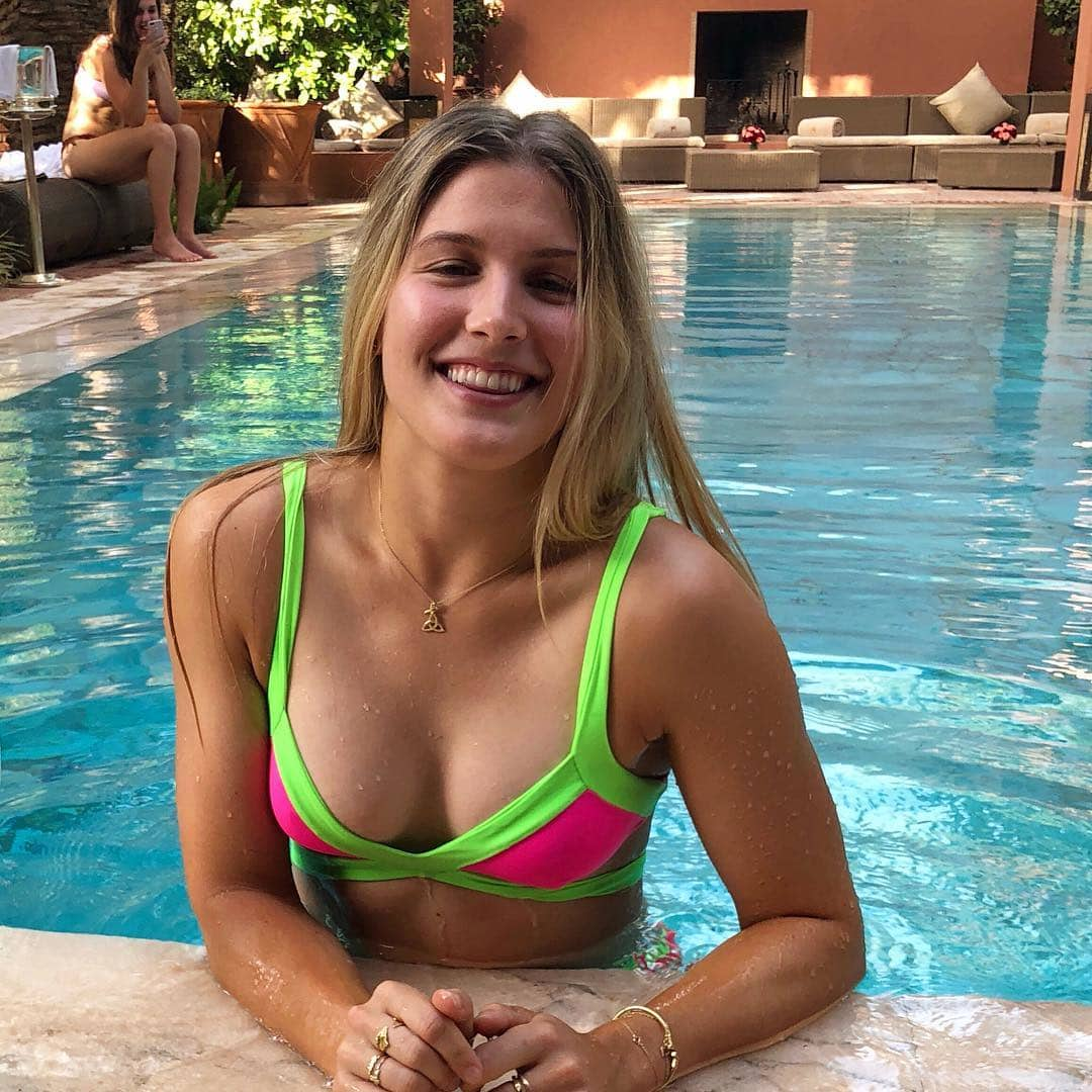 Eugenie Bouchard on Swimming Pool