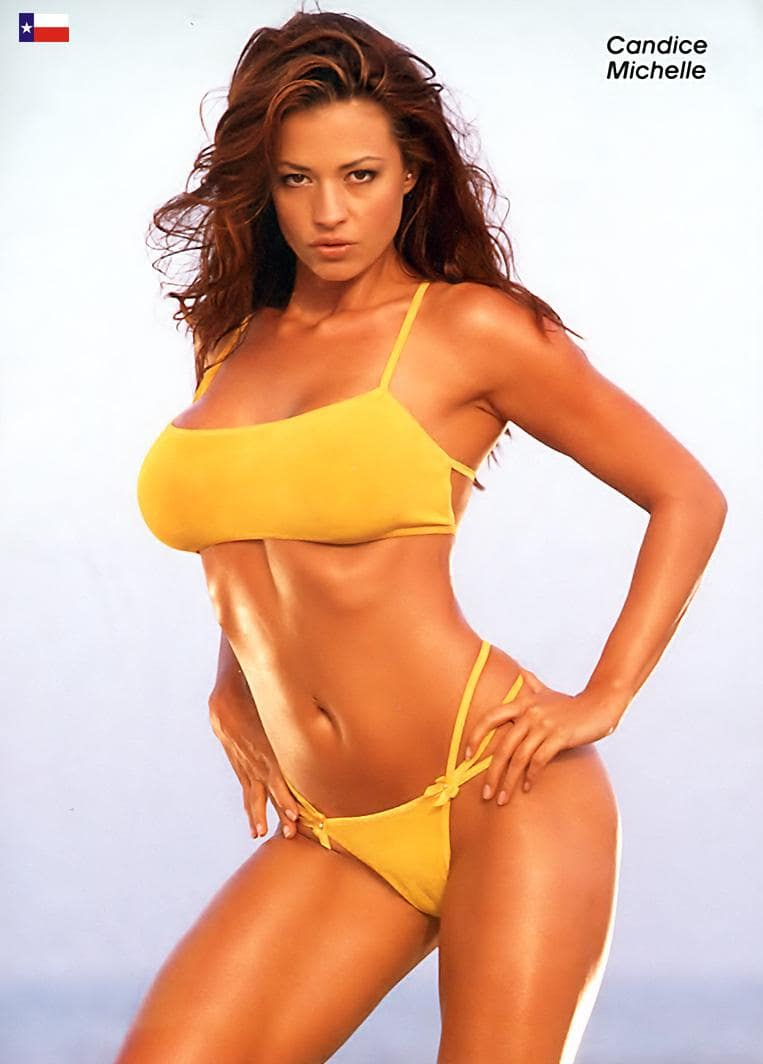 Candice Michelle in Yellow Bikini