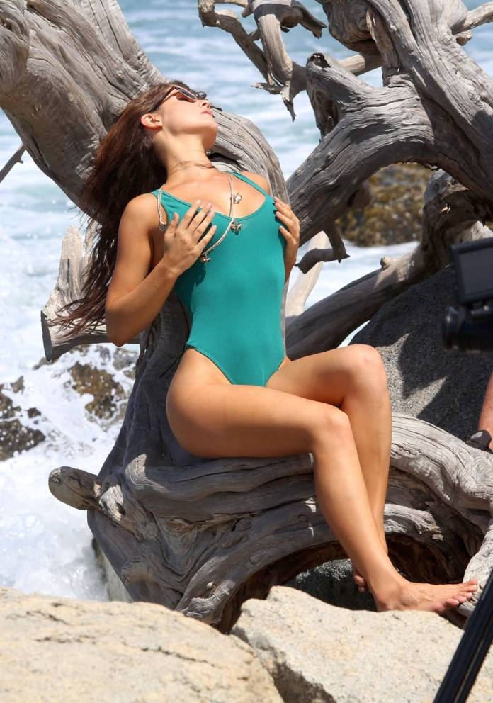 Amanda Cerny Sexy in Green Swimsuit