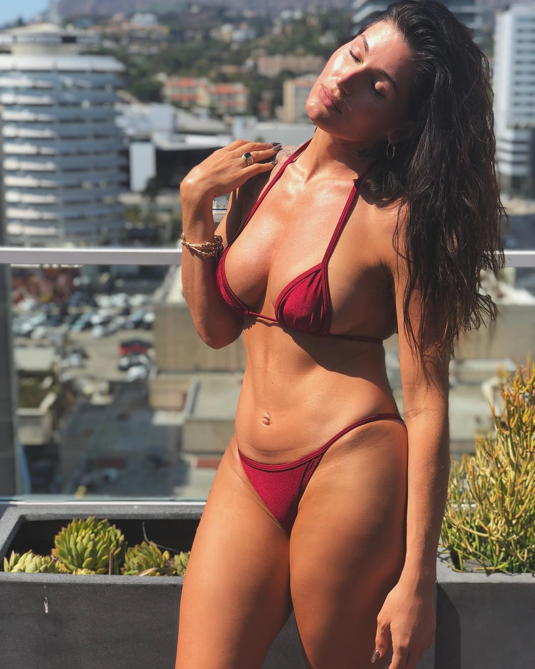 Trace Lysette on Red Bikini