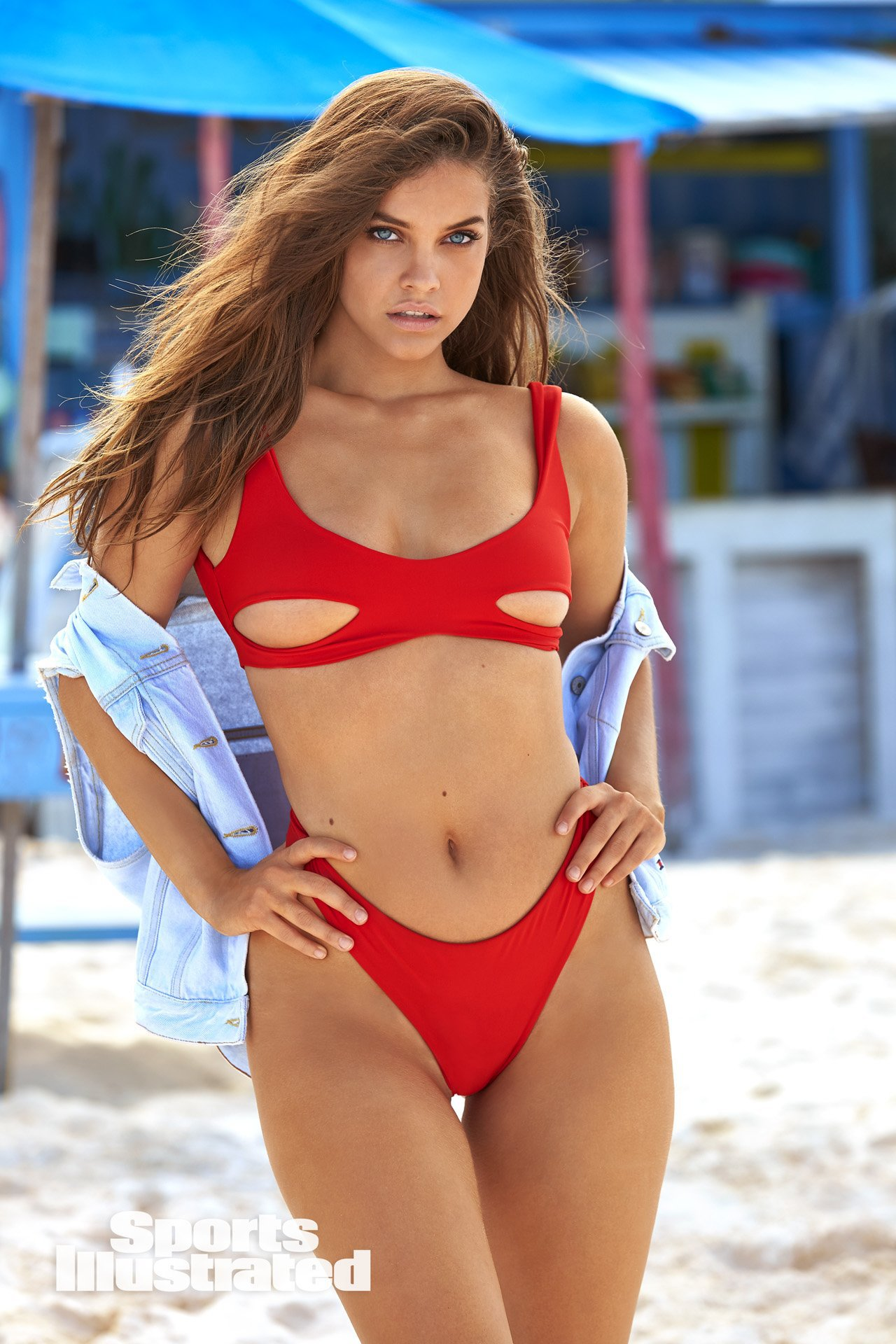 Barbara Palvin Hot in Red Bikini
