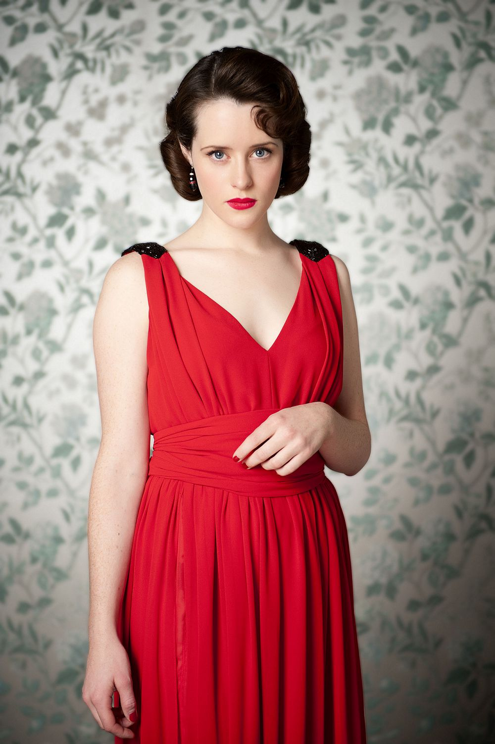 claire foy red dress