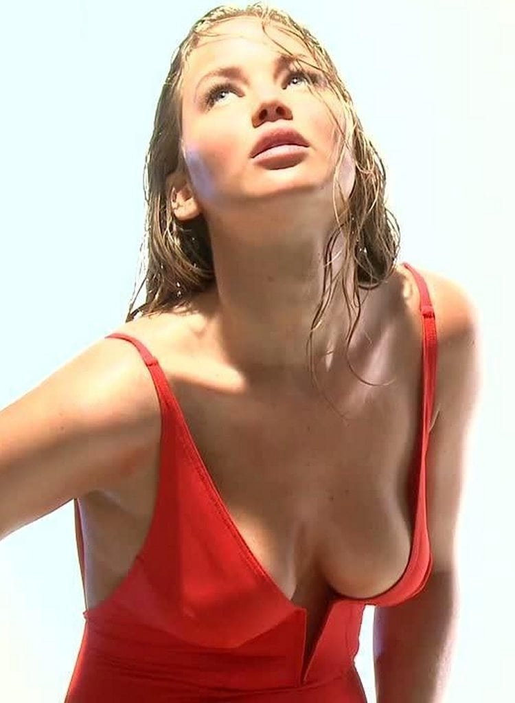 Jennifer Lawrence red swimsuit
