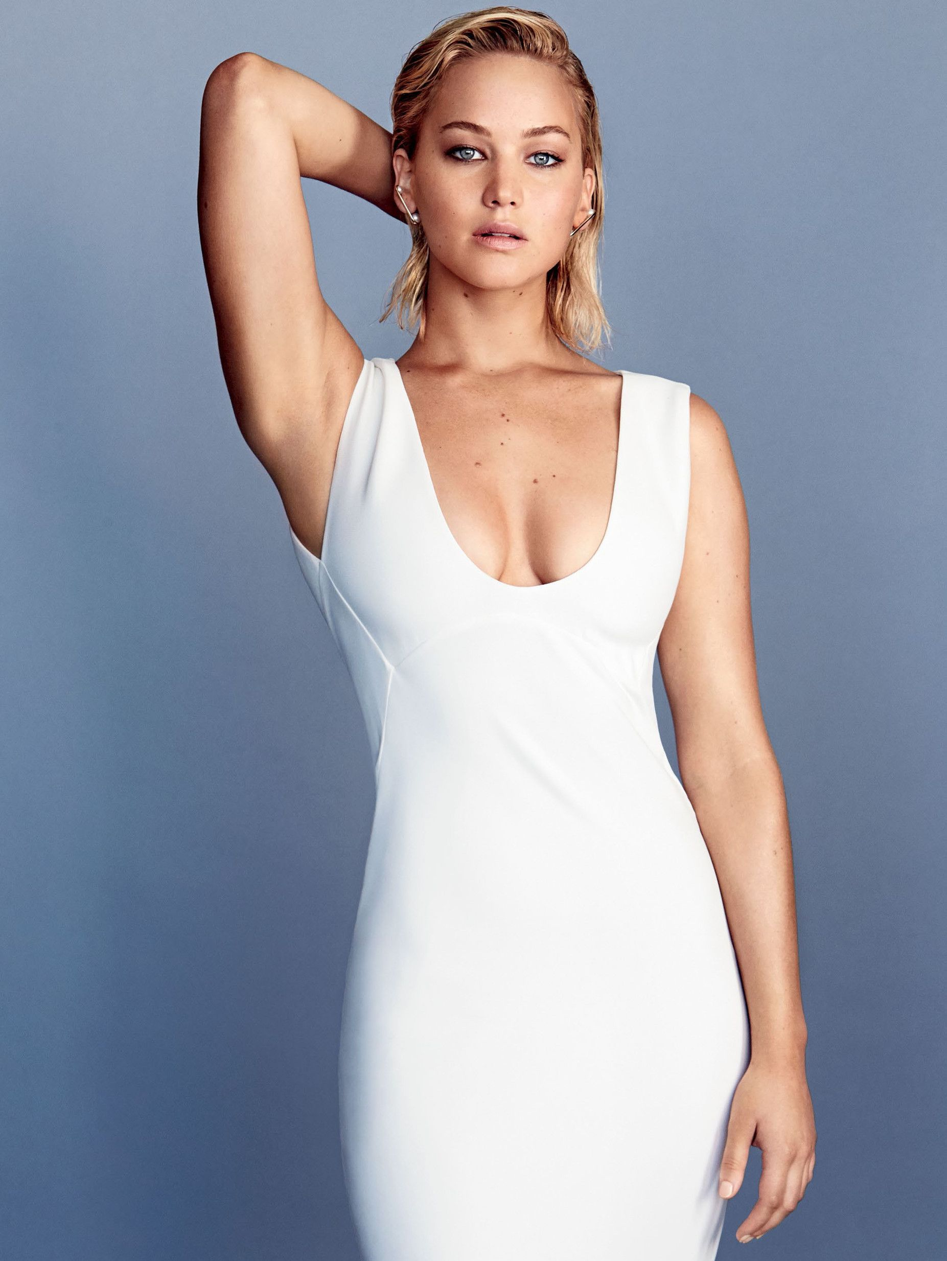 Jennifer Lawrence sexy dress white