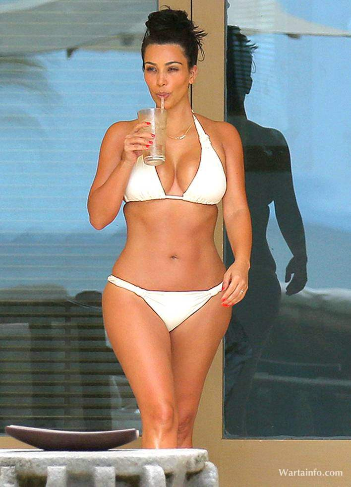 Kim Kardashian on White Bikini
