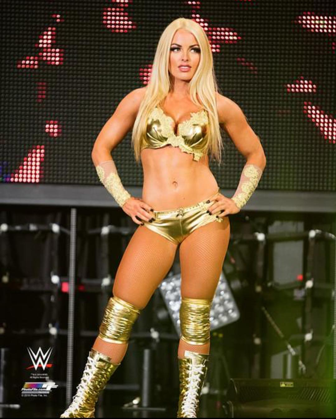 Mandy Rose golden bikini