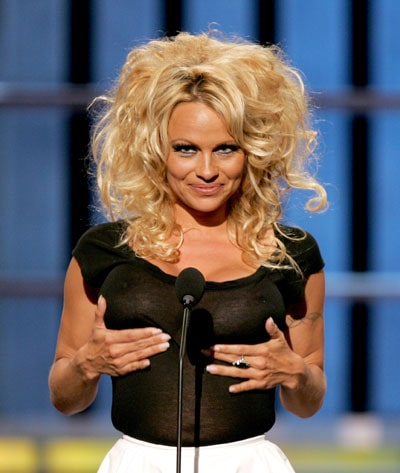 Pamela Anderson black sexy dress