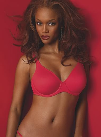 Tyra Banks red bikini