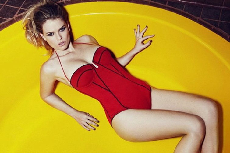 alice eve red swimsuit