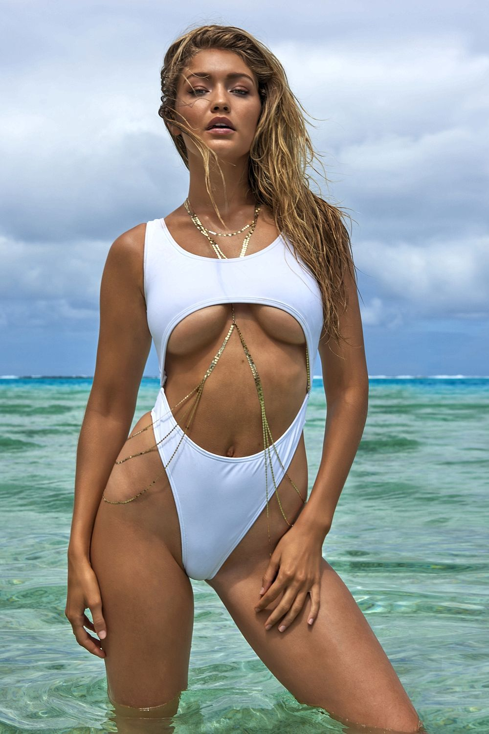 gigi hadid white swimsuit