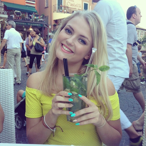 lucy fallon with drink