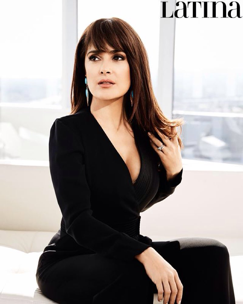 salma hayek black dress