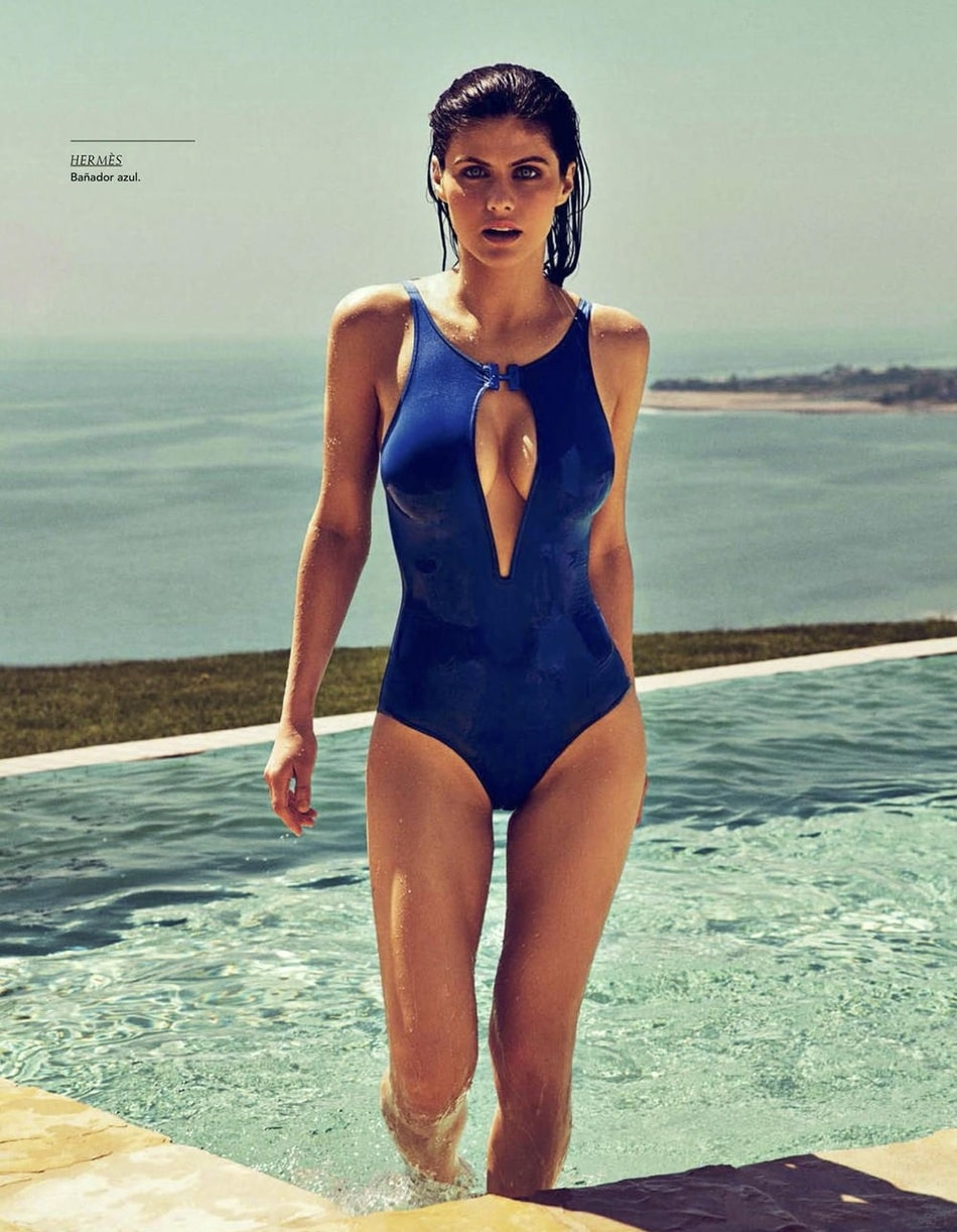 Alexandra Daddario on Swimming Costume
