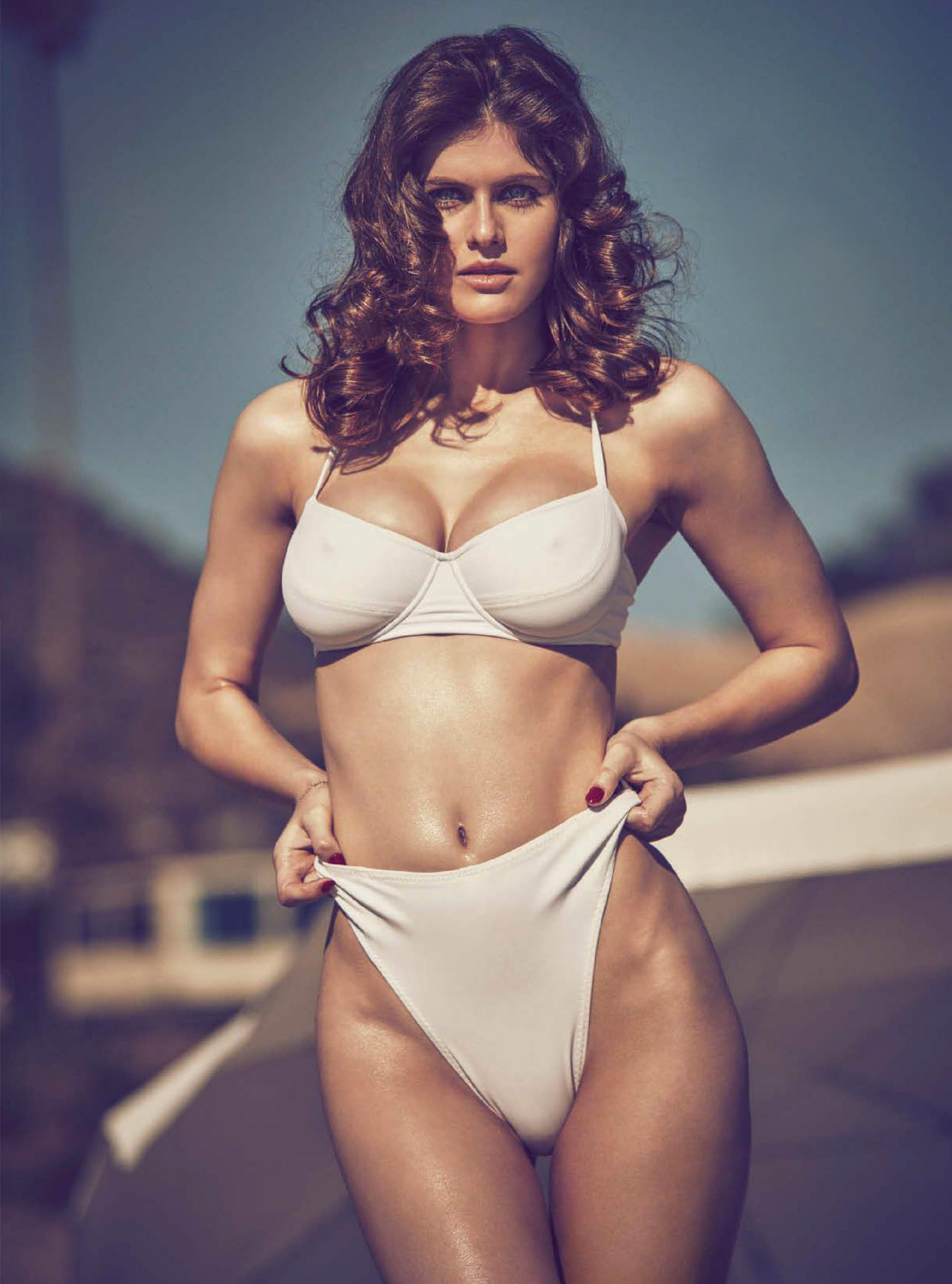 Alexandra Daddario on White Bikini