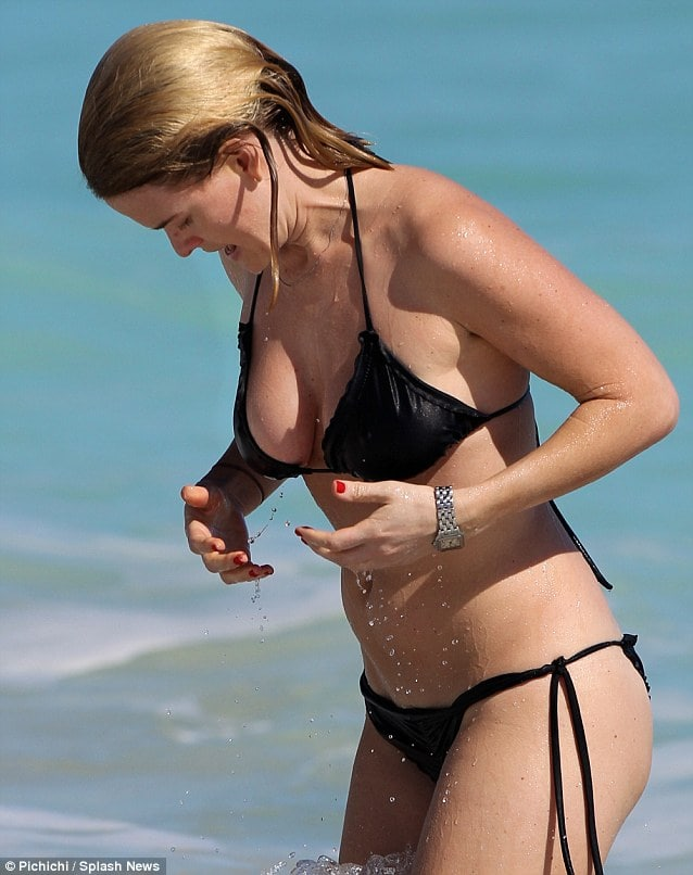 Alice Eve Hot in Black Bikini