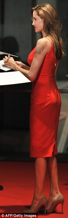 Angelina Jolie sexy butt in red