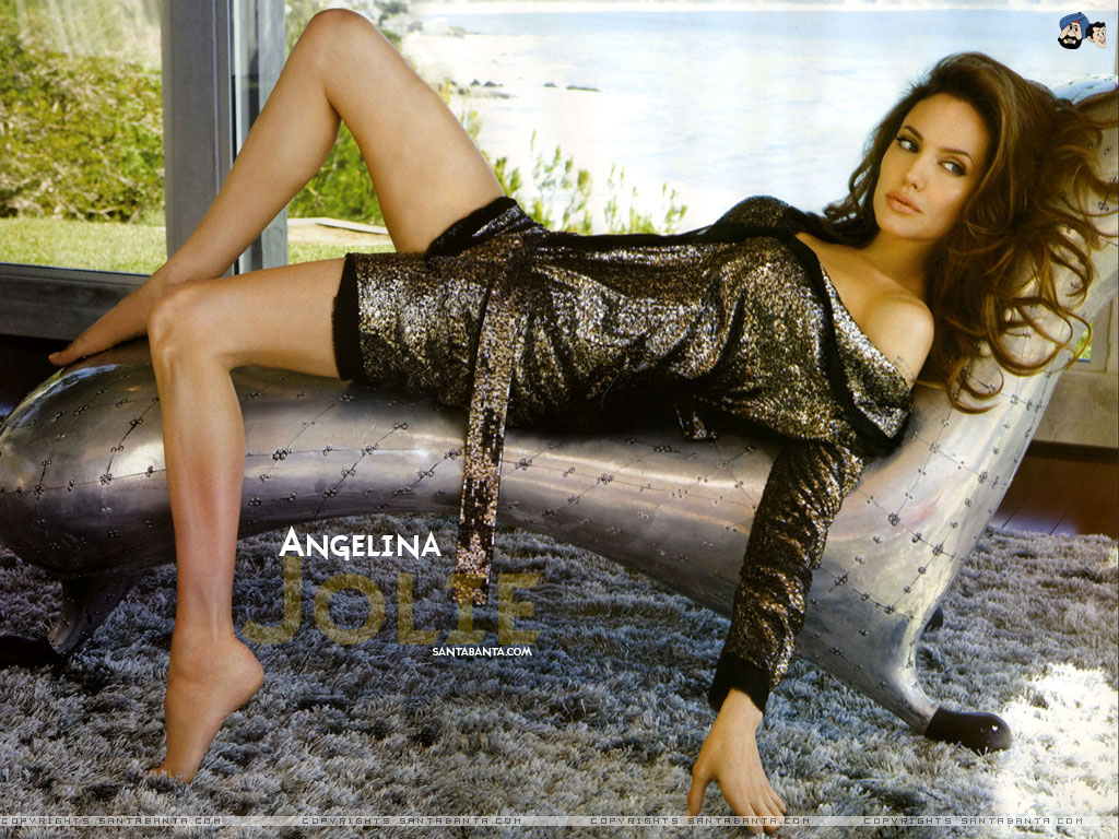 Angelina Jolie sexy on bed