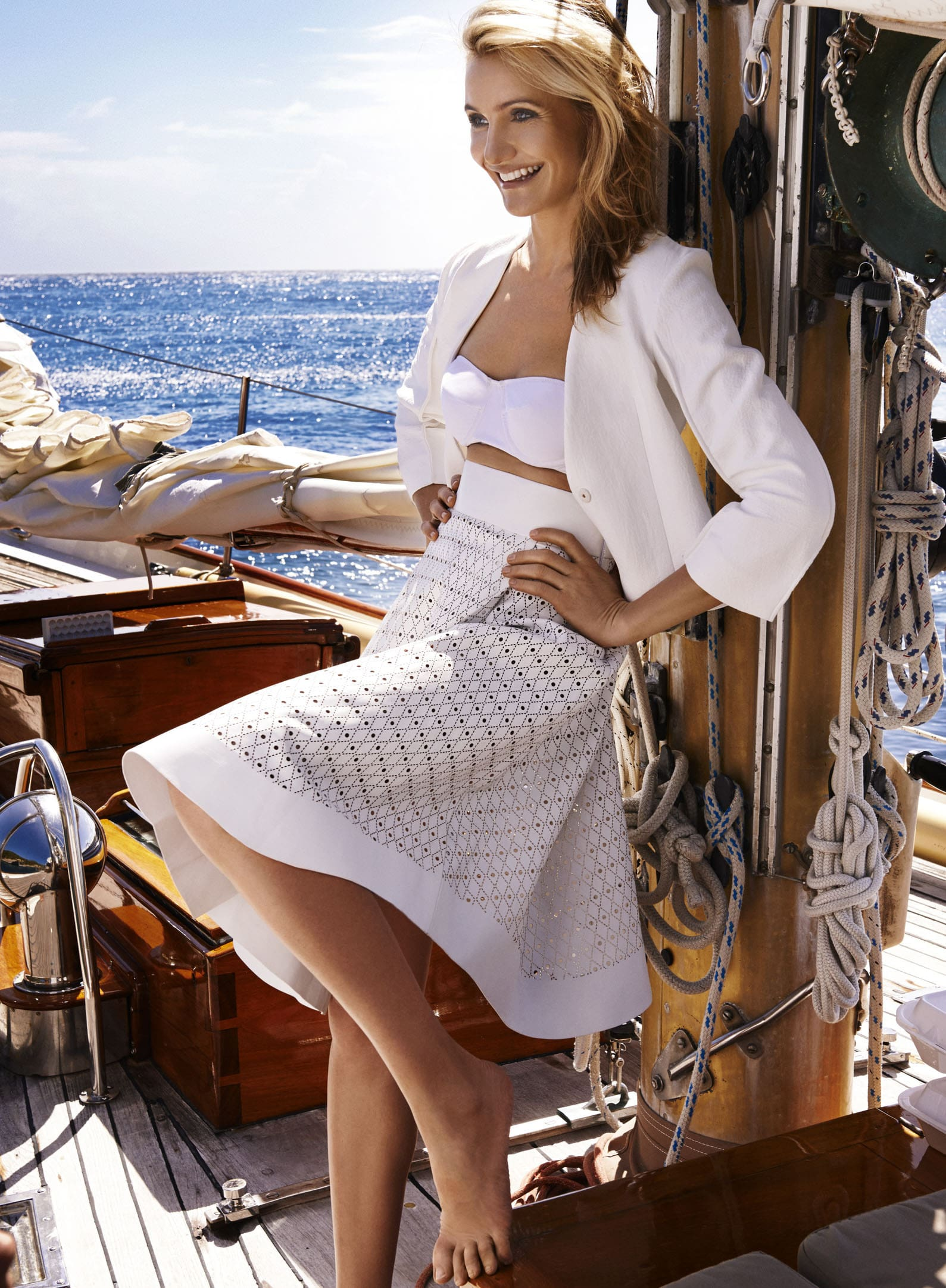 Cameron Diaz beauty in white