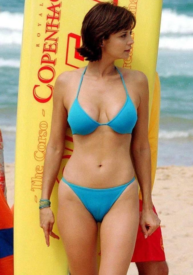 Catherine Bell Hot in Blue Bikini