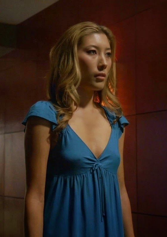 Dichen Lachman Hot in Blue Dress