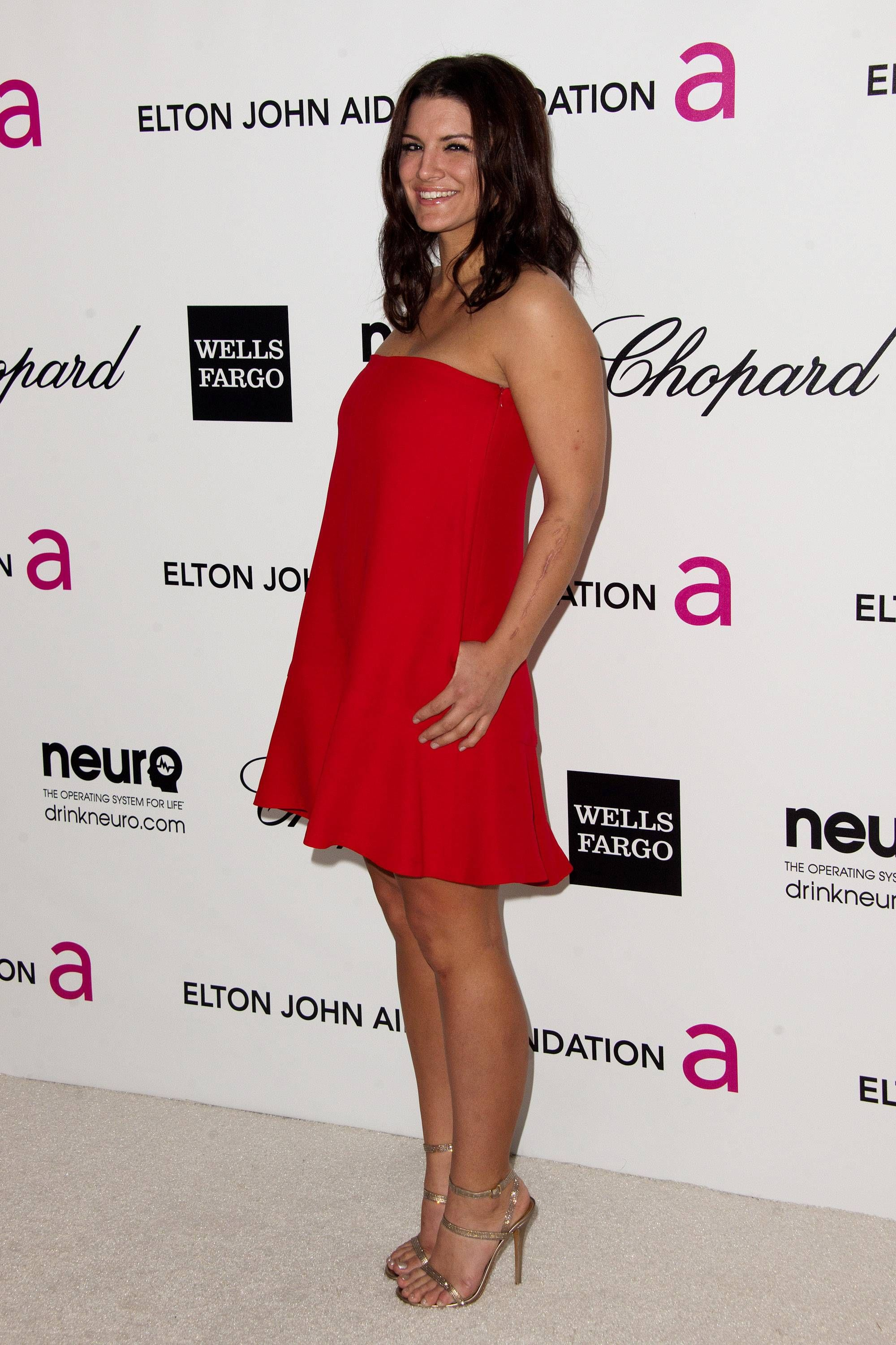 Gina Carano sexy feet in red