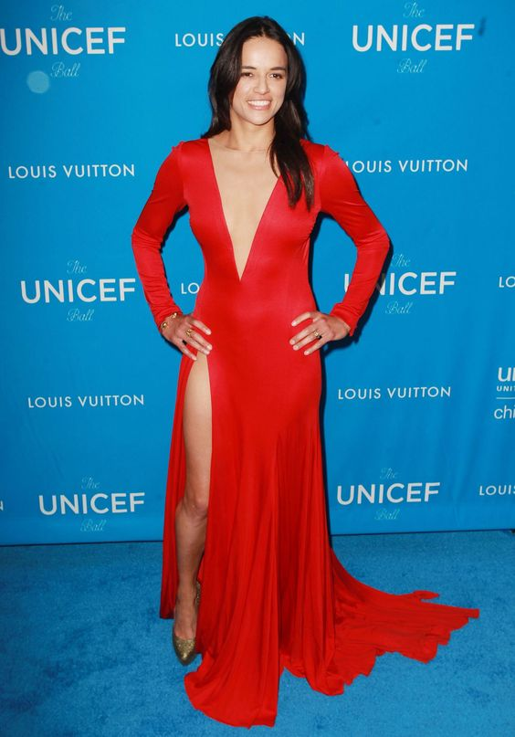 Michelle-Rodriguez--red dress