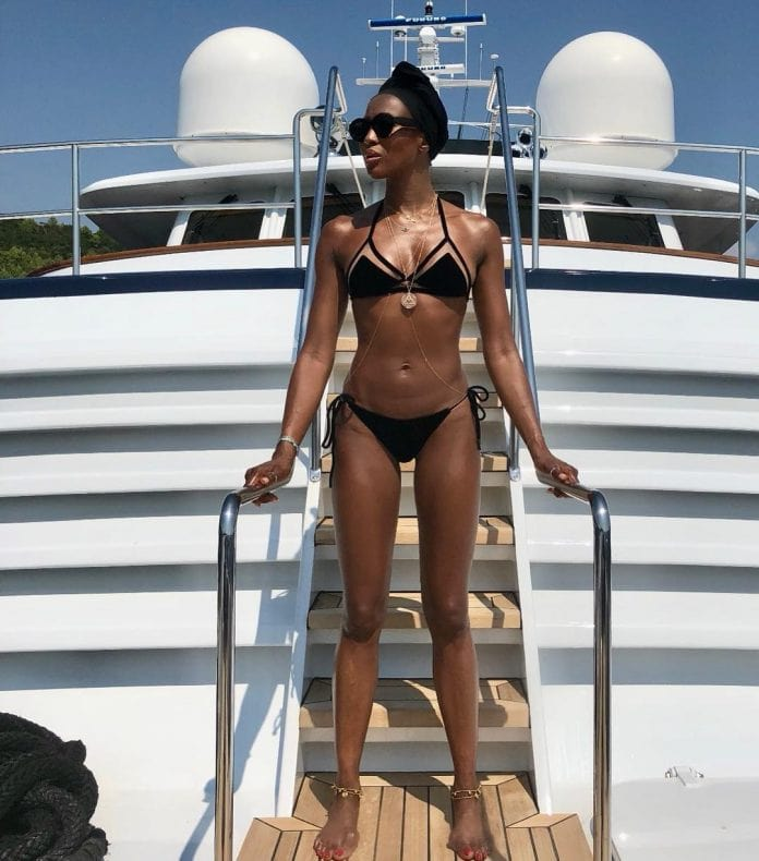 Naomi Campbell on Boat