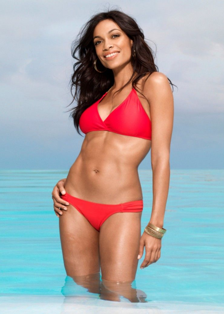 Rosario-Dawson-Hot-in-Red-Bikini-