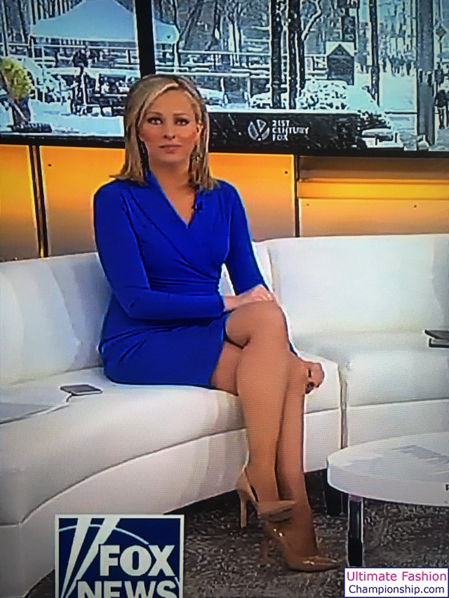 Sandra Smith sexy legs in blue