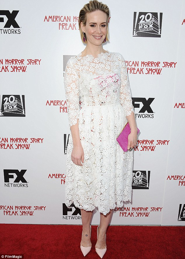 Sarah Paulson hot and sexy in white