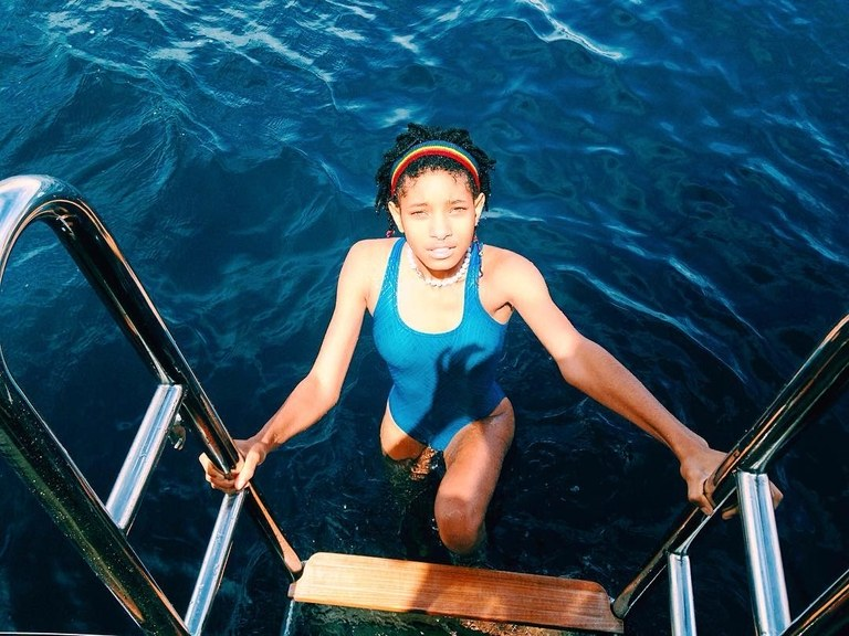 Willow Smith blue swimsuit