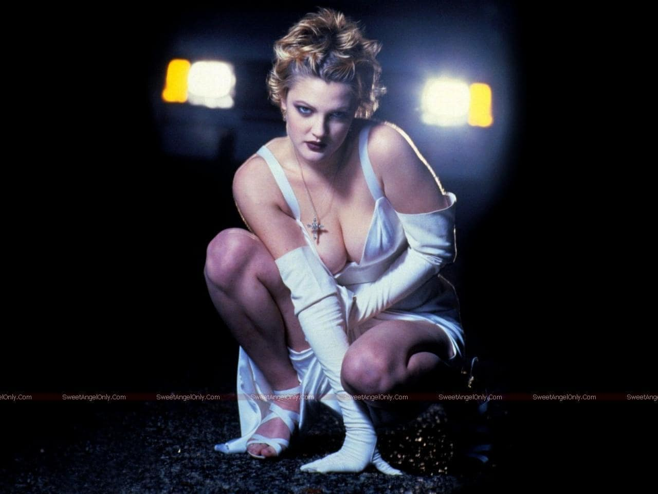 drew barrymore white dress