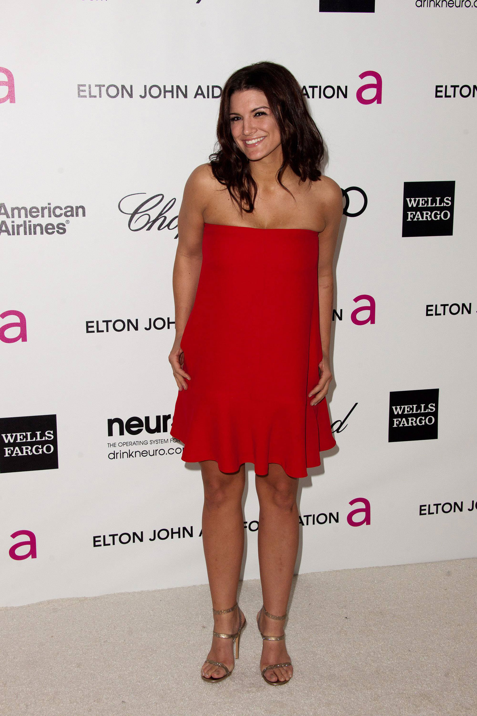 gina carano goodlooking good in red dress