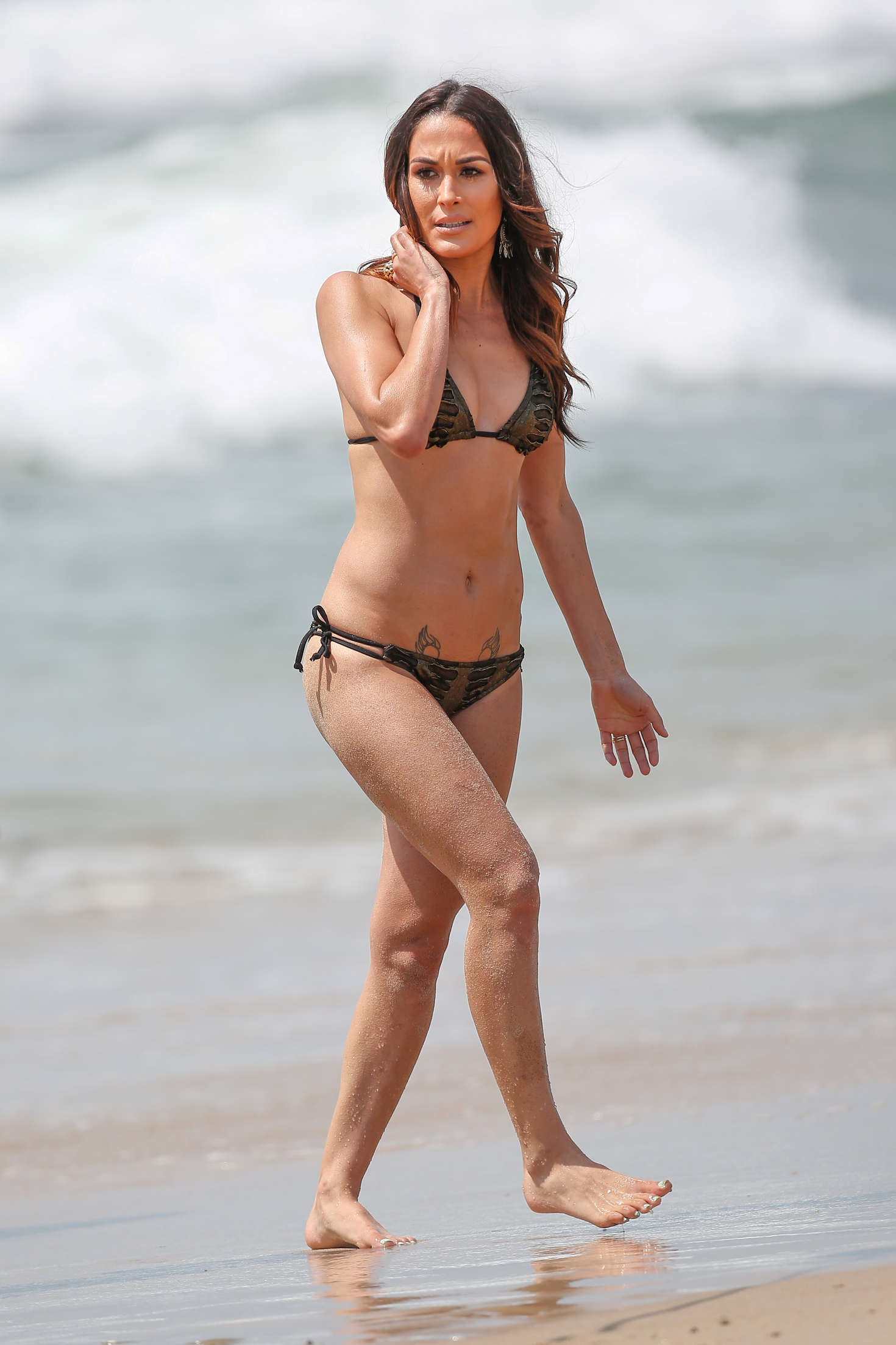 Brie Bella hot beach bikini look