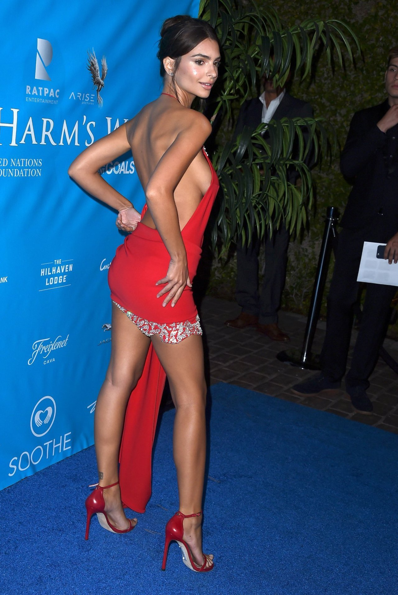 Emily Ratajkowski hot red dress
