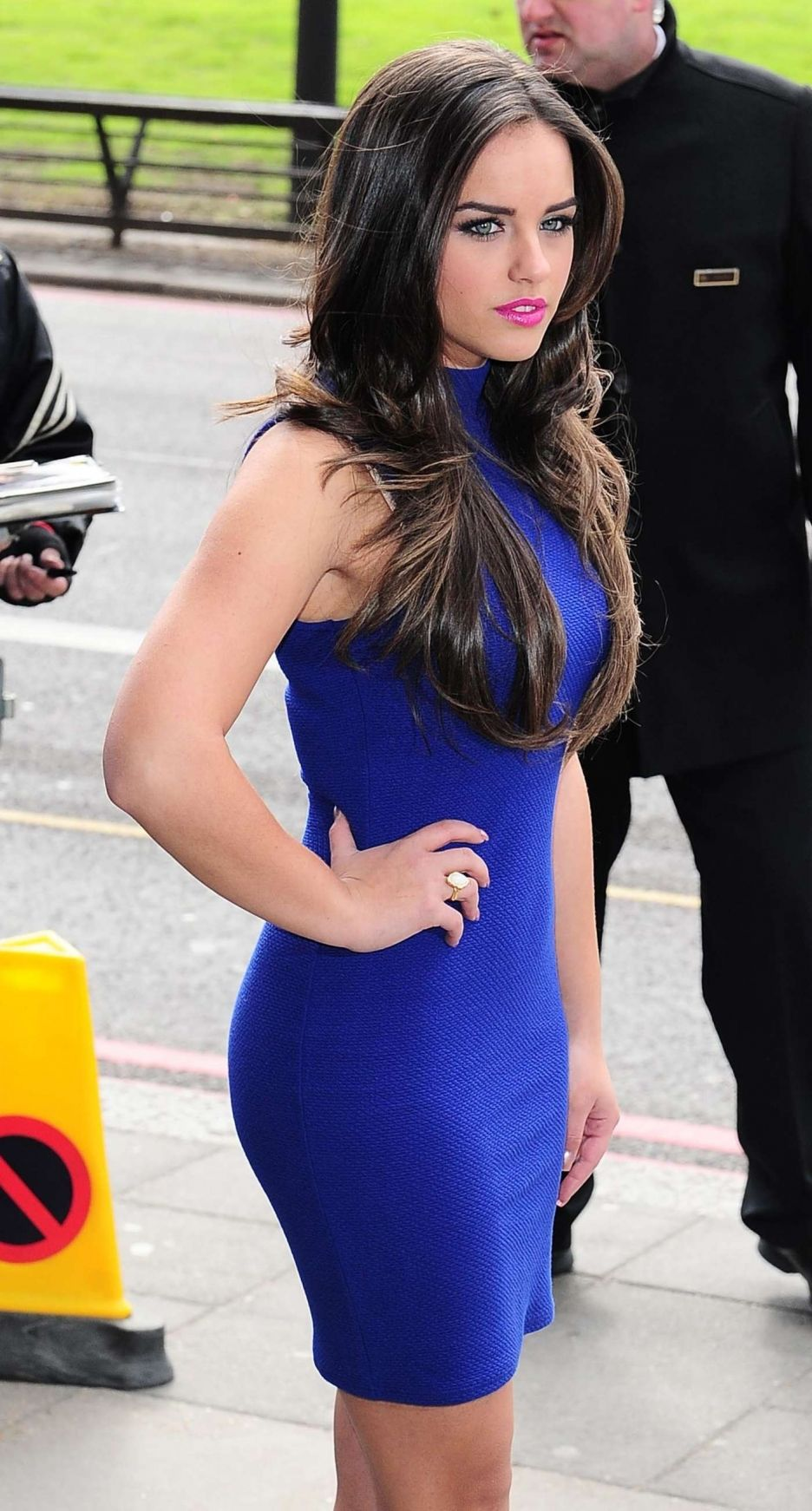Georgia May Foote Hot in Blue Dress