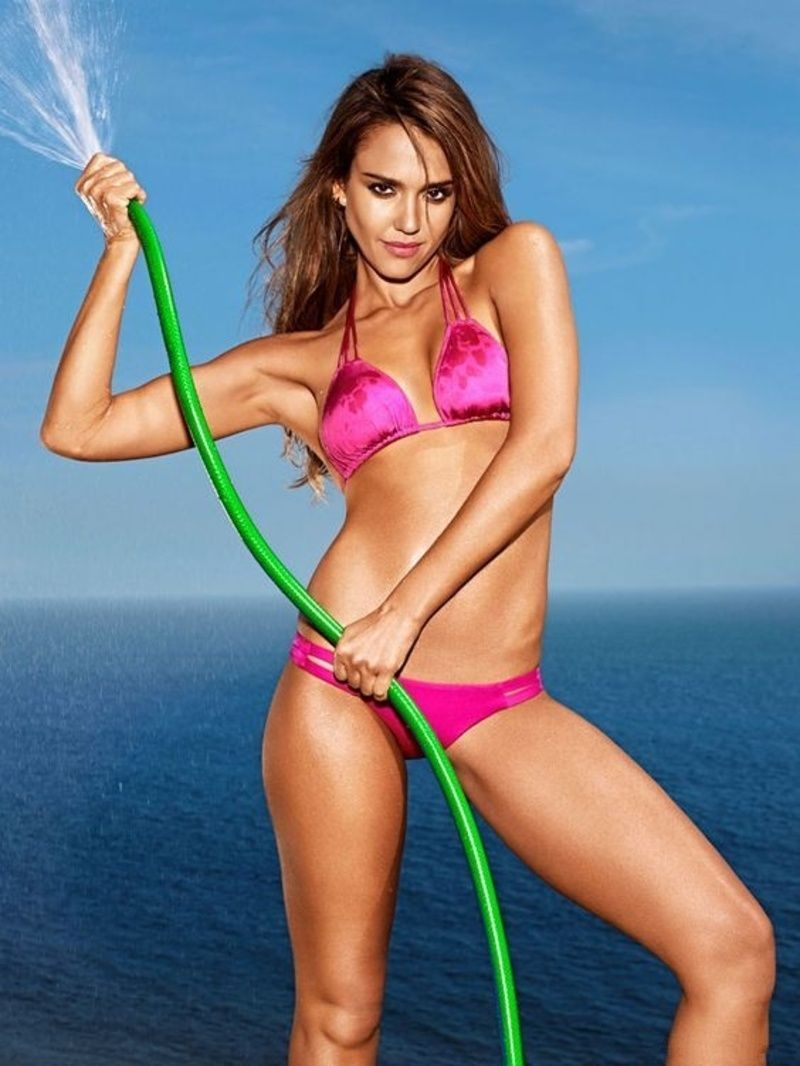 Jessica Alba hot in Pink Bikini