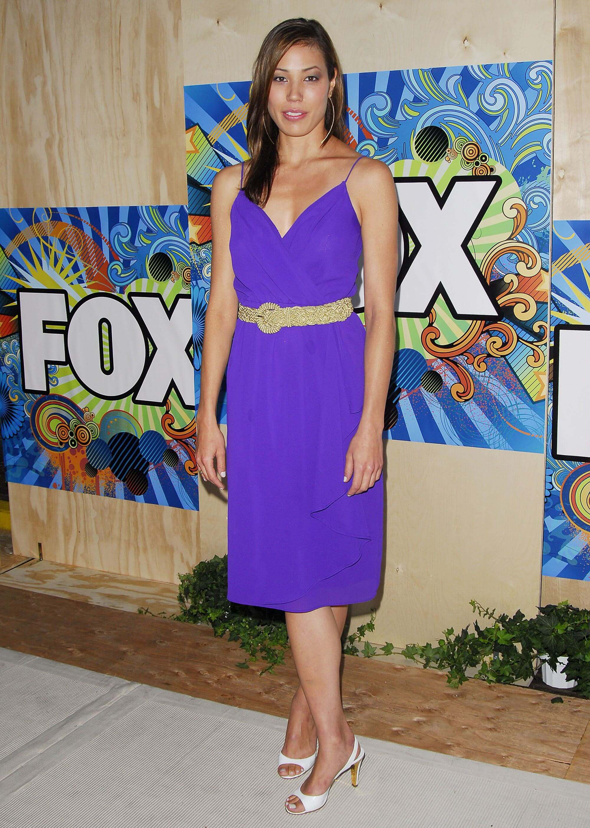 Michaela Conlin sexy purple dress